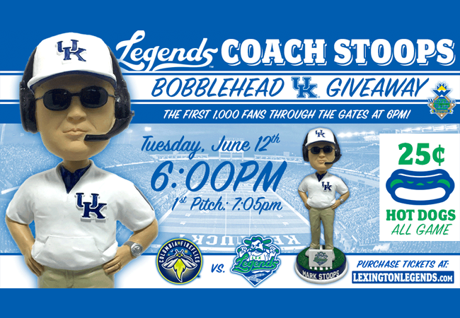 Lexington Legends To Giveaway Coach Mark Stoops Bobblehead