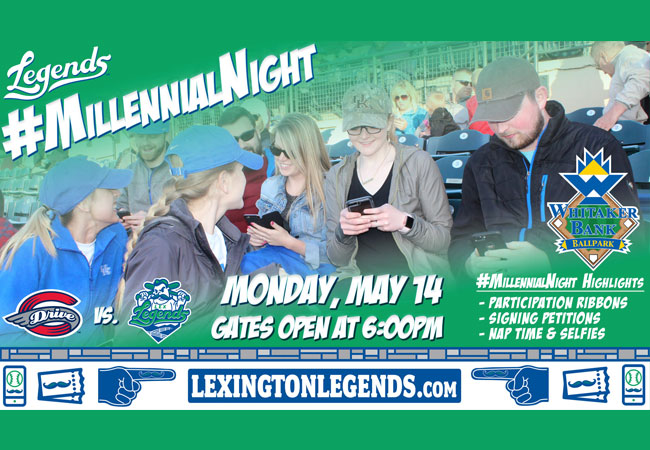 Lexington Legends *can't even* with Millennial Night, May 14